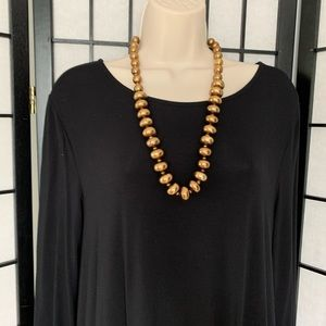Gold Beaded Statement Long Necklace